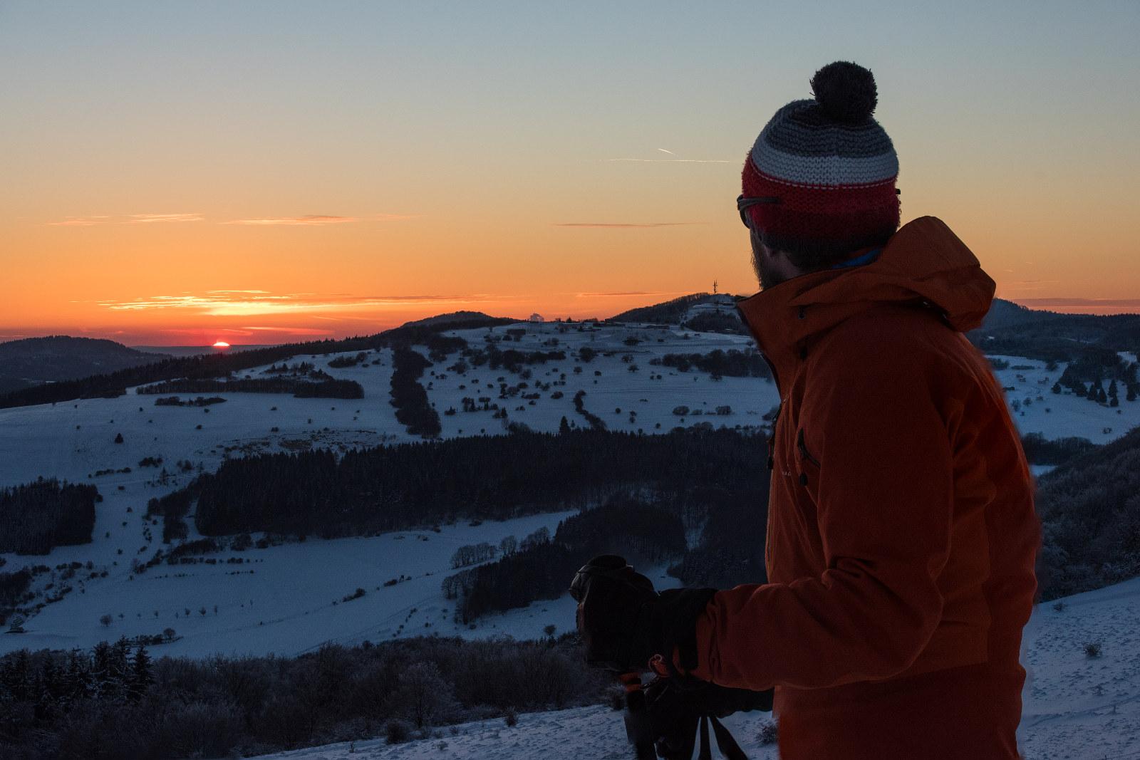 die letzten Sonnenstrahlen auf Skitour in der Rhön