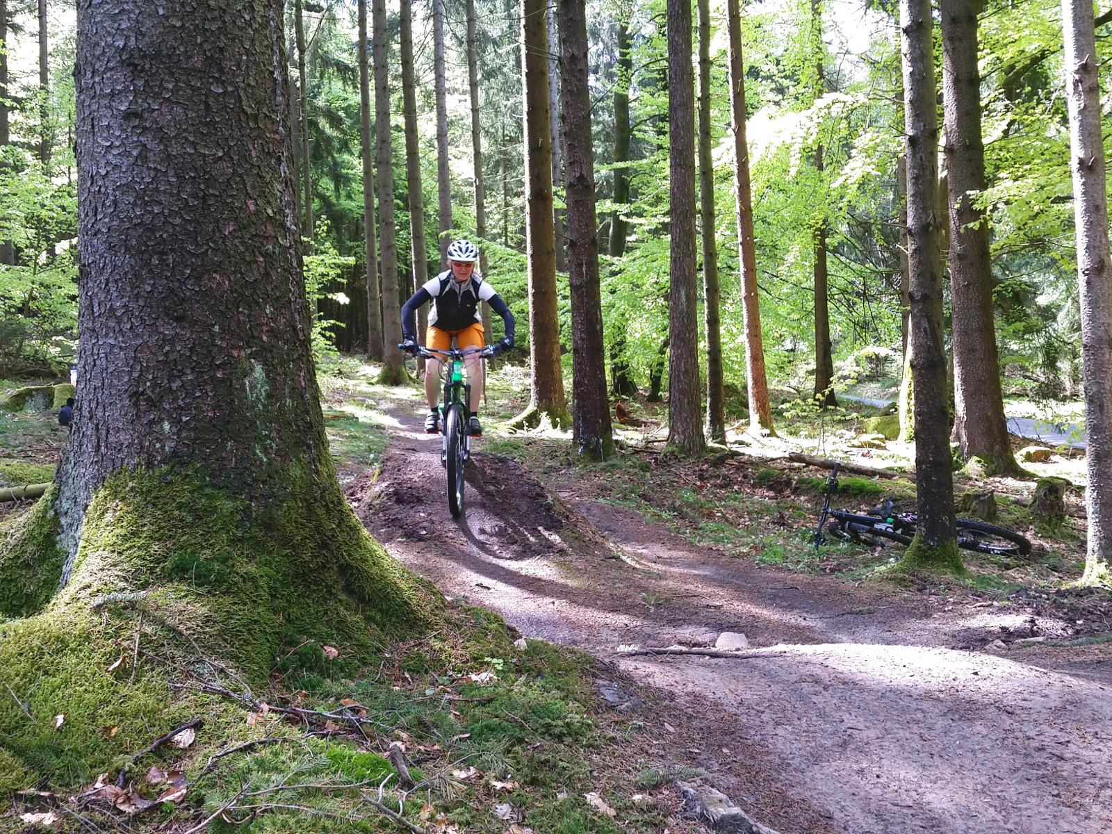 leichte Hindernisse überrollen im Fahrtechnik Kurs in der Rhön