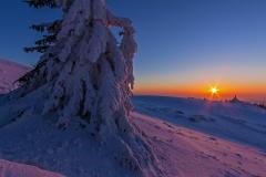winterliche Abendstimmung in der Rhön