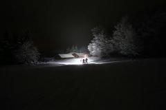 Ski und Bike bei Nacht in tollem Schnee