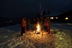 prasselndes Winterfeuer in der Rhön